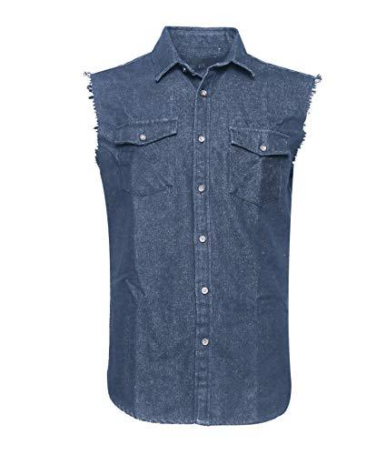 Soopo camicia a quadri camicia jeans uomo blu senza maniche, camicia per l'estate graziosa e comoda, xxxl
