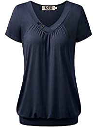 DJT Femme T-shirt Hauts ete Manches courtes Col V a boutons Ourlet serre