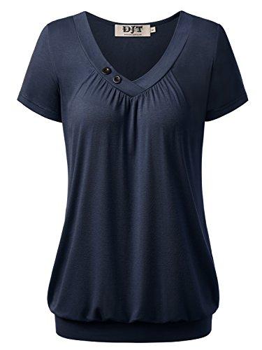 DJT Damen Basic V-Ausschnitt Kurzarm T-Shirt Falten Tops mit Knopf Dunkelblau M