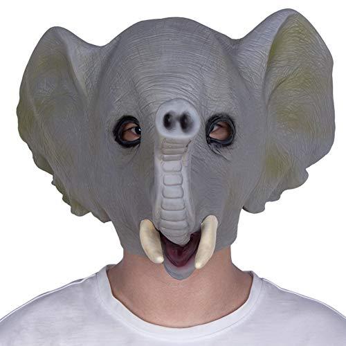 FLTVSN Máscara de Halloween de látex, máscara de Cara Completa para Animales, Cosplay, Elefante, Cabeza de Animal, máscaras para Fiestas de Halloween