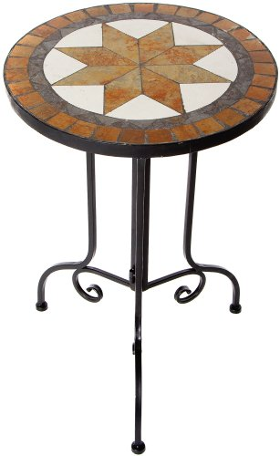 El Fuego AY2611 Side Table - Round with Mosaic Top