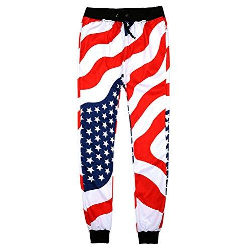 Unisex Mode Usa American Flag SWEATPANTS Sterne Streifen Hose voller Länge lose Bequeme Hose