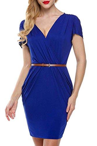 MEXI Damen V-Ausschnitt Bleistiftkleid Business Kleid Retro Abendkleid Bodycon Kleider 32-46 Style 02-Blau