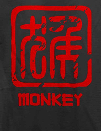 Chinese Signs Monkey T-Shirt Grau