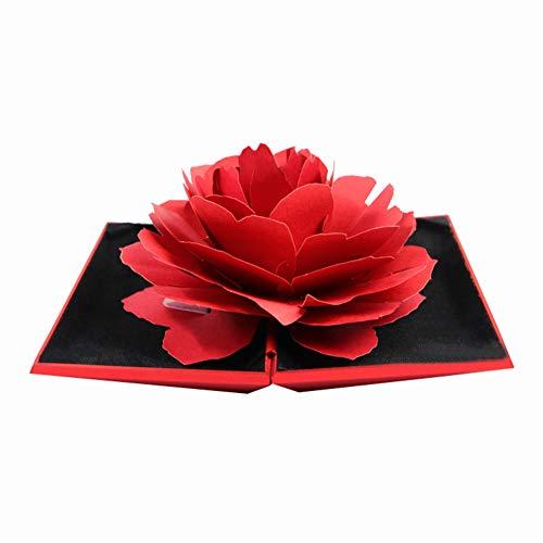 CAheadY 3D Pop Up Rose Blume Ring Box Hochzeit Engagement Schmuck Aufbewahrungsbox Fall Red