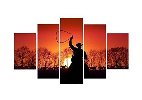 HUQI Cowboy 5 Sonnenuntergang Frameless Murals