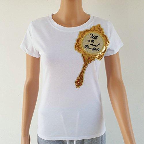 WanYang Donne Paillettes Manica Corta Girocollo T-shirt Con Paillettes Scintillante Camicia Casuale Tops Bianco
