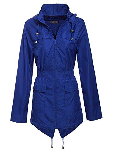 Envy Boutique Parka simple Mac avec machaon avec capuche Imperméable Veste de pluie Bleu Marine