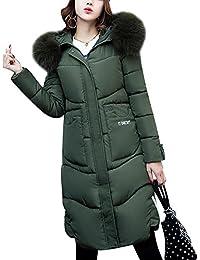 Donna Cappotto Piumino sottile Piumino Cappotto di cotone lungo spessa Verde  S ba0f140f011