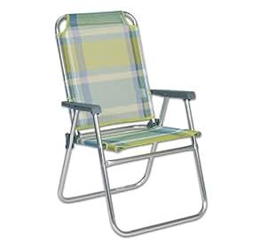 Profiline Klappsessel Pirgos, Aluminium, witterungsbeständiges Kunststoffgewebe, niedrige Rückenlehne, grün / blau gestreift