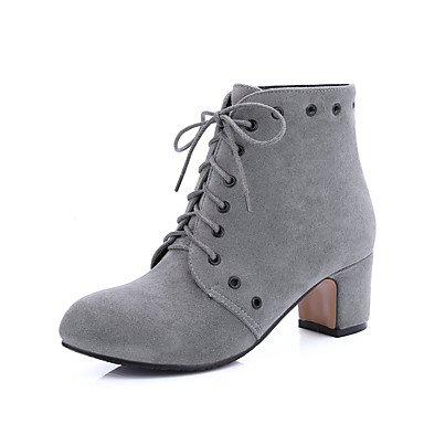 CH&TOU Da donna-Stivaletti-Formale Casual-Stivali-Quadrato-Finta pelle-Nero Grigio Tessuto almond gray