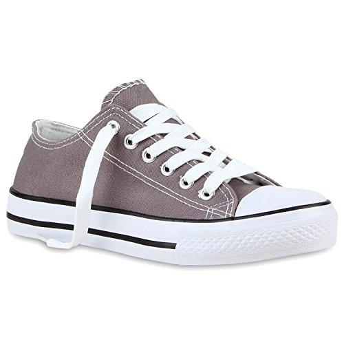 Freizeit Damen Sneakers Low Viele Farben & Größen Canvas Schuhe Grau