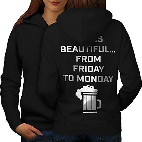 Bière En disant Blague Drôle Femme S-2XL Sweat à capuche le dos | Wellcoda Noir