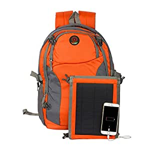 SUNLAST L005 Orange Laptop Backpack with Solar Mobile Charger