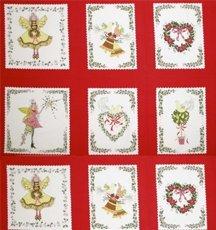 pixywood Pixie Weihnachten Squares Platten Quilting Stoff Michael Miller 5474rot