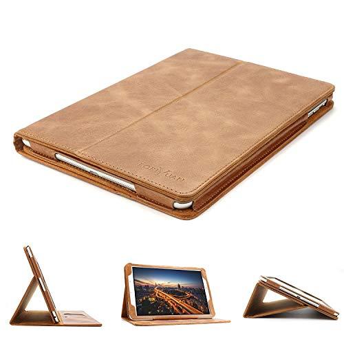 BORIYUAN Samsung Galaxy Tab A 10.1 Hülle - mit Standfunktion & Automatische Schlaf/Aufwachen Funktion Echt Leder Schutzhülle für Samsung Tab A 10.1 Zoll T580N/ T585N Tablet - (Braun,Echt Leder)