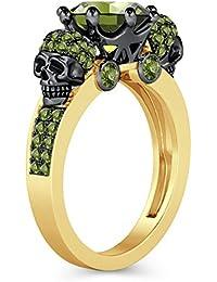Silvernshine 2ct Round Cut Green Peridot Simulated Diamond 18K Yellow Gold Plated Crown Skull Ring