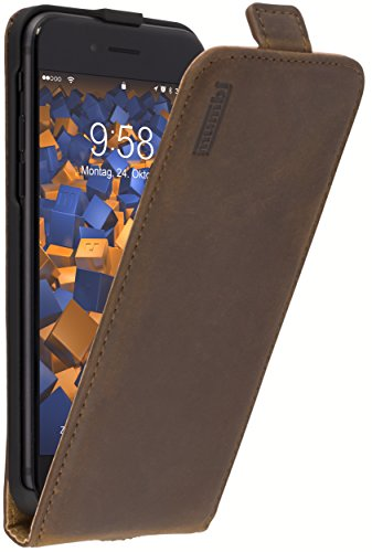 mumbi PREMIUM Leder Flip Case für iPhone 8 / iPhone 7 Tasche braun (Und Telefon Etui 5s Gürtelclip)