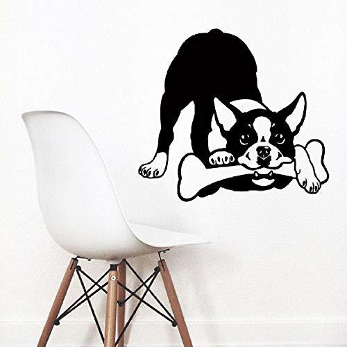 jiuyaomai Wandtattoo Abnehmbare Boston Terrier Hund Vinyl Wandaufkleber Puppy Dog Pet Shop Wanddekoration Niedlichen Tier Hund Wandbild schwarz 84x76cm -