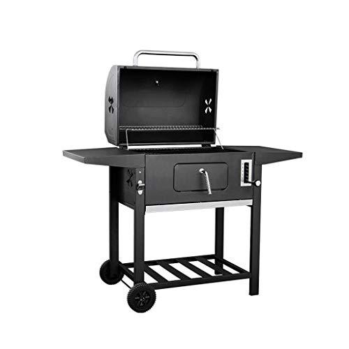 Tragbarer Holzkohle-BBQ-Grill, Raucher-Barbecue-Grills im Freien mit Rädern, Flaschenöffner für das kampierende Wandern von Picknick-Patio-Hinterhof-Kochen ()
