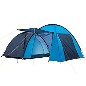 campfeuer - dome-tent with big porch (4 persons), blue / light-blue