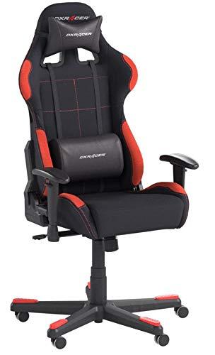 DX Racer 62501SR4 - Silla gaming, plástico, reposabrazos, con ruedas, altura ajustable, Negro/Rojo, 78 x 52 x 124-134 cm