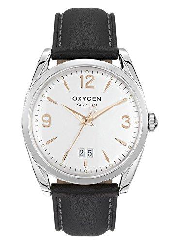 Oxygen–Montre Homme Acier–Cadran Argent sablé–Bracelet en Cuir Noir–Sport 38kissinger–l-s-kis-38