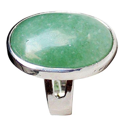 Sharplace Anelli Regolabile Con Ovale Naturale Cristallo Giada Pietra Preziosa Regalo Di San Valentino - verde