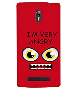 Fuson Premium I`M Angry Printed Hard Plastic Back Case Cover for Oppo Find 7