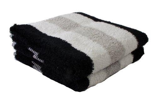Gözze Handtuch 2er-Set, 100% Baumwolle, 50 x 100 cm, New York, Streifen, Schwarz/Weiß/Silber, 555-9100-A4 (Große Dicke Handtücher)