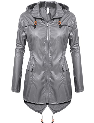 cooshional Damen Regenmantel mit Kapuze, Regenjacke Wasserdicht, Atmungsaktiv Regenparka Grau