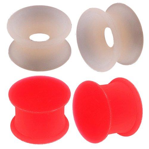 4er set 14mm 9/16 Rot Silikon Flexibel Flesh dehnen Tunnel ohr plug Piercing Double Flared BGRZ körperschmuck