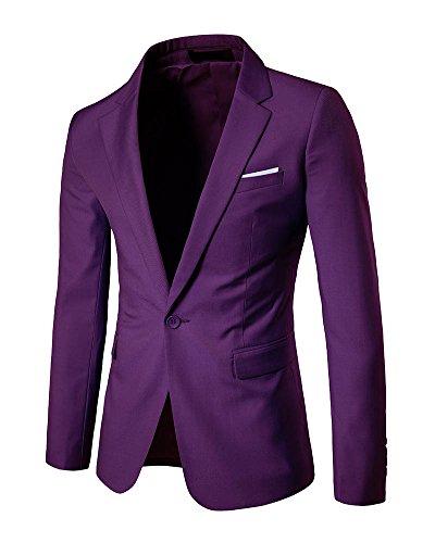 DianShao Herren Blazer Casual Jacke One Button Slim Fit Geschäft Anzugjacken Lila L