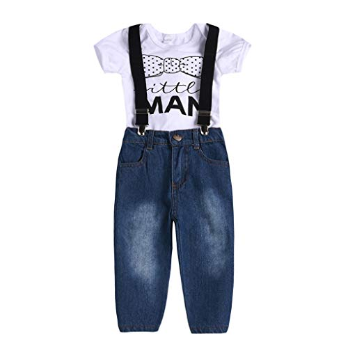 (12M-3Y) Zwei-Bein-Kurzarm-T-Shirt für Kinder mit Zwei Ärmeln, Zwei Buchstaben, gestreifte Pocket-Shorts, Zweiteiliger Anzug, Yanhoo Weste Kurze Hose und Plaid Kurze Hose Formale Party Taufe Hochzeit - Denim-zwei-pocket-shorts