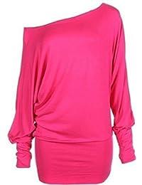 Mischen Sie viele neue Damen trendy aus Schulter baggy Fledermaus Klar Top Frauen-Mode sexy lange Hülse plus Soft-Touch-lässige Kleidung Top Größe 36-50