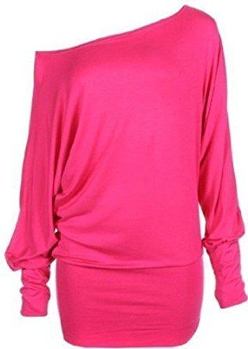 Mélanger lot de nouvelles femmes à la mode de l'épaule ample chauve-souris de mode sexy à manches longues soft touch haut robe casual de taille de plaine meilleurs femmes 36-42 rose chaud