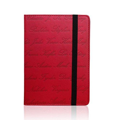 Funda universal para eReader de 6 pulgadas, compatible con tabletas Kobo, Kindle, Sony, Pocketake y Tolino, diseño con nombres de autores en relieve