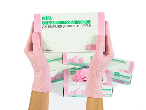 Nitrilhandschuhe 100 Stück Box (S, Rosa/Pink) Einweghandschuhe, Einmalhandschuhe, Untersuchungshandschuhe, Nitril Handschuhe, puderfrei, ohne Latex, unsteril, latexfrei, disposible gloves, pink, Sma