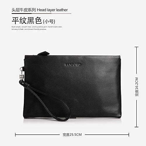Handtasche, Leder, Tasche die große Kapazität Männer, business casual Umschlag Tasche, groß blau Small Tabby black