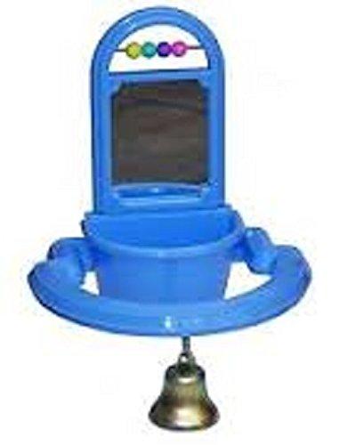 Vogelnapf mit Spiel und Glocke Spielzeug Blau Vogel