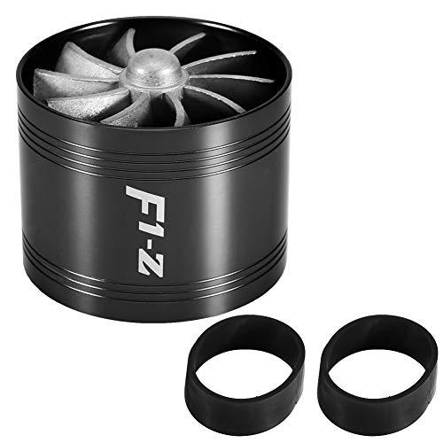 Auto Lufteinlass Turbonator Single Fan Turbine Super Charger Gas Kraftstoffsparer Turbo 64mm(Schwarz) -