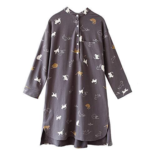 Mmllse camicia da notte in cotone femminile autunno pigiama allentato stampa di grandi dimensioni servizio a domicilio taglia unica grigio