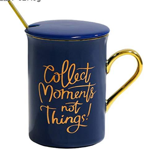 siyao Kaffeetasse Keramik Tasse Kreative Geschenk Tasse Mann und Frau Paar auf Tasse Milk Kaffee Tasse Hochzeit Single Tasse + Deckel Löffel (Farbbox) Blau (Goldener Griff)