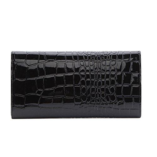Mode Damen Leder Umschläge Tasche Clutch Abend Umhängetasche Black