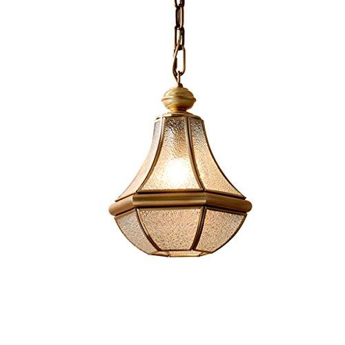 Kronleuchter Alle Bronze Single Head Glas Restaurant Lichter Balkon Gang Flur Kronleuchter (Farbe: Messing) - Alle Glas Chrome Kronleuchter