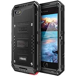 Beeasy Coque iPhone 6/ 6s Étanche,Antichoc Protecteur d'Écran Intégré[Qualité Militaire Robuste Super Résistant Metal IP68 Imperméable ] Qualité Militaire pour Le Travail,Housse à l'Air Libre,Noir