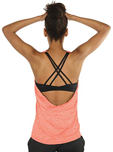 icyzone Damen Sport Tops mit Integriertem BH - 2 in 1 Yoga Gym Shirt Fitness Training Tanktop (XXL, Peach)