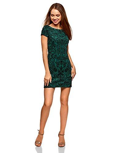 oodji Ultra Damen Jersey-Kleid mit Flock-Druck, Grün, DE 36 / EU 38 / S