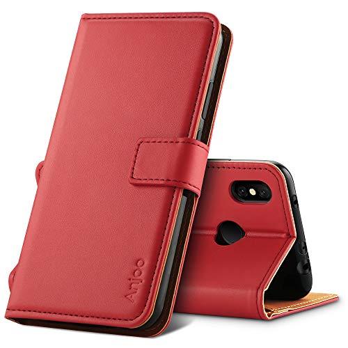 Anjoo Coque Compatible pour Xiaomi Redmi Note 6 Pro, Housse en Cuir avec Magnetique Premium Flip Case Portefeuille Etui Compatible pour Xiaomi Redmi Note 6 Pro, Rouge