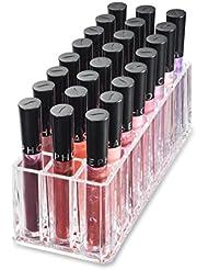 Titulaire Acrylique Lip Gloss Organisateur & Beauty Care fournit 24 Espace de rangement | byAlegory (Clear)